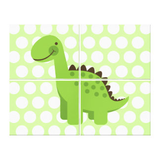 Cute Green Dinosaur Canvas Print