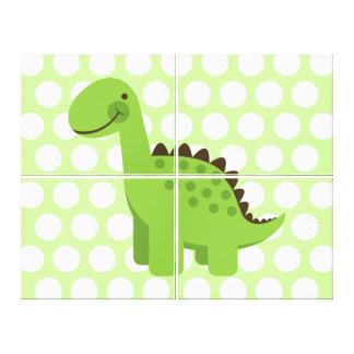 Cute Green Dinosaur Canvas Print