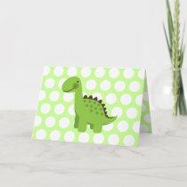 Cute Green Dinosaur Card