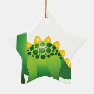 Cute green dinosaur cartoon ceramic ornament