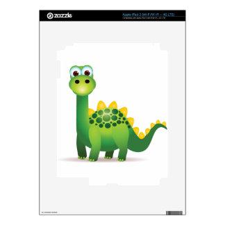 Cute green dinosaur cartoon iPad 3 skin