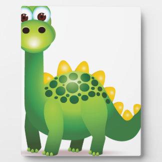 Cute green dinosaur cartoon plaque