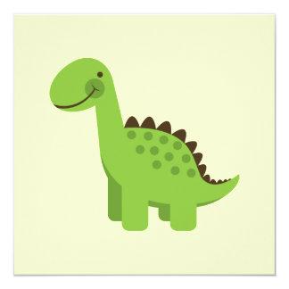 Cute Green Dinosaur 5.25x5.25 Square Paper Invitation Card