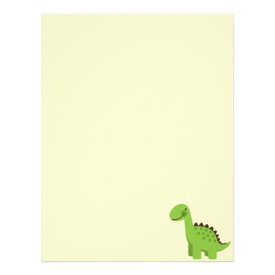 Cute Green Dinosaur Letterhead