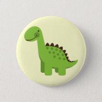 Cute Green Dinosaur Pinback Button