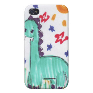 Cute Green Dinosaur Sketch iPhone 4 Case