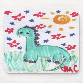 Cute Green Dinosaur Sketch Mouse Pad