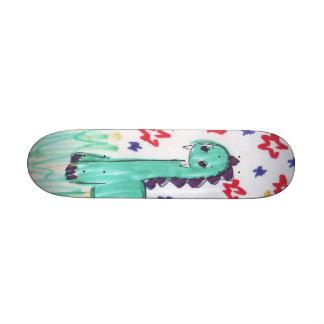 Cute Green Dinosaur Sketch Skateboard Mini