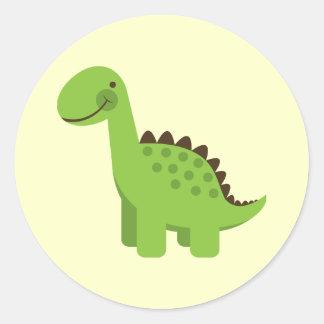 Cute Green Dinosaur Round Sticker