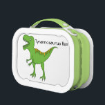 """Cute Green Dinosaur-T-Rex Personalize Name Lunch Box<br><div class=""""desc"""">This cute green T-Rex dinosaur will make your child very happy when he/she sees it on his/her lunch-box! Standing on his hind legs and looking pretty fierce in a cute kind of way, this cartoon dinosaur will jazz up the lunch you made! The full dinosaur name (for educational purposes!) is...</div>"""