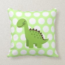 Cute Green Dinosaur Throw Pillows