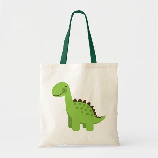 Cute Green Dinosaur Tote Bag