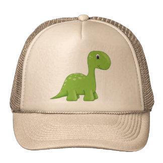 Cute green dinosaur trucker hat