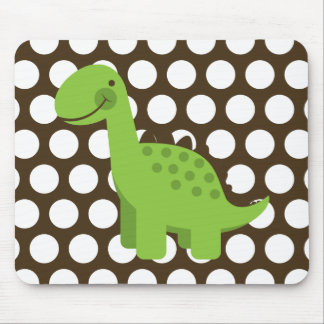 Cute Green Dinosaur White on Brown Polka Dot Mouse Pad