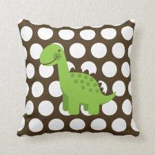 Cute Green Dinosaur White on Brown Polka Dot Throw Pillows