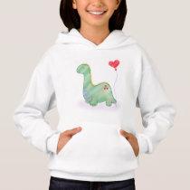 Cute Green Dinosaur with Heart Balloon | Hoodie