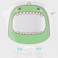 Cute Green Dinosaur With Yellow Spike Face Shield