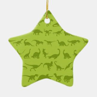 Cute Green Dinosaurs Patterns for Boys Ceramic Ornament