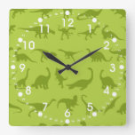 Cute Green Dinosaurs Patterns for Boys Square Wall Clock