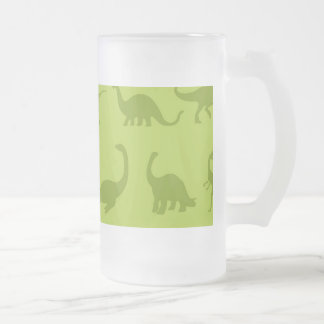 Cute Green Dinosaurs Patterns for Boys Frosted Glass Beer Mug