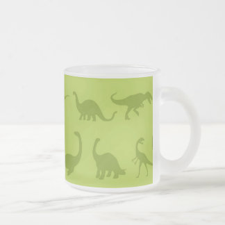 Cute Green Dinosaurs Patterns for Boys Frosted Glass Coffee Mug