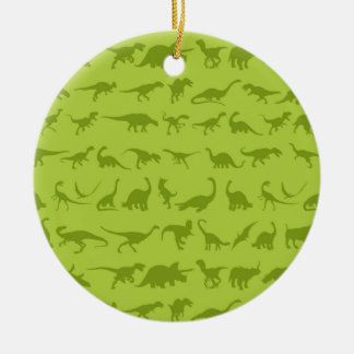 Cute Green Dinosaurs Patterns for Boys Double-Sided Ceramic Round Christmas Ornament
