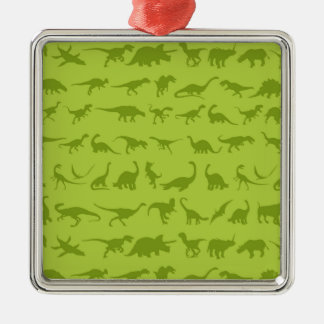 Cute Green Dinosaurs Patterns for Boys Square Metal Christmas Ornament