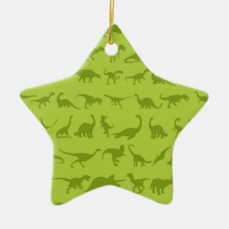 Cute Green Dinosaurs Patterns for Boys Double-Sided Star Ceramic Christmas Ornament