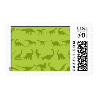 Cute Green Dinosaurs Patterns for Boys Postage