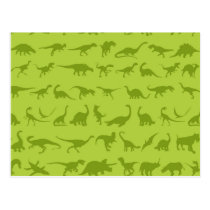 Cute Green Dinosaurs Patterns for Boys Postcard