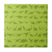 Cute Green Dinosaurs Patterns for Boys Tile