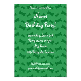 Cute green dog bones pattern 5x7 paper invitation card