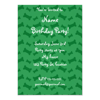Cute green dog bones pattern personalized announcements