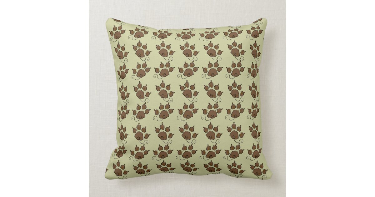 Cute Dog Pillow Beds : Cute Green Dog Paw Dog Bed Throw Pillow Zazzle