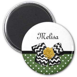 Cute Green Dots Yellow Rose Chevron Bow and Name 2 Inch Round Magnet