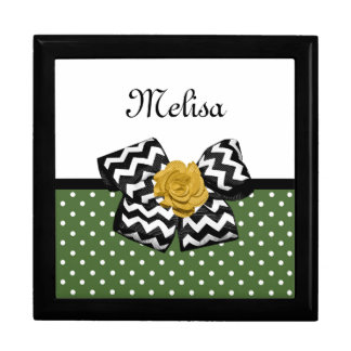 Cute Green Dots Yellow Rose Chevron Bow and Name Keepsake Box