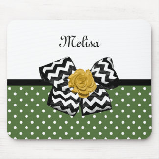 Cute Green Dots Yellow Rose Chevron Bow and Name Mouse Pad