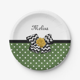 Cute Green Dots Yellow Rose Chevron Bow and Name 7 Inch Paper Plate