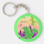 Cute Green Dragon Basic Round Button Keychain