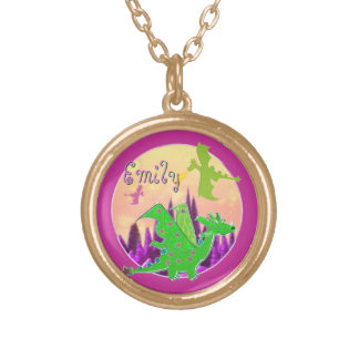 Cute Green Dragon Gold Plated Necklace