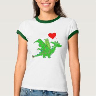 Cute Green Dragon Hearts Cartoon T-Shirt