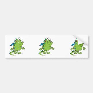 cute green dragon monster creature car bumper sticker