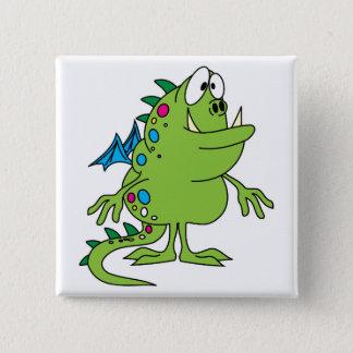 cute green dragon monster creature pinback button