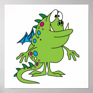 cute green dragon monster creature print