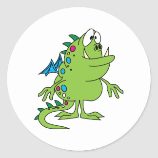 cute green dragon monster creature classic round sticker