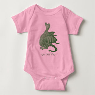 cute green dragon mythical fantasy creature art baby bodysuit