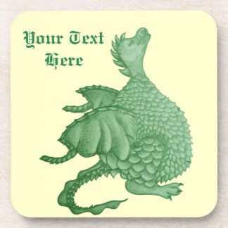 cute green dragon mythical fantasy creature art beverage coaster