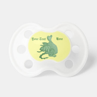 cute green dragon mythical fantasy creature art pacifier