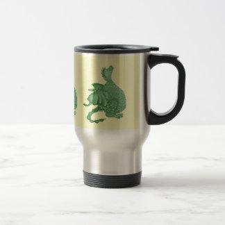 cute green dragon mythical fantasy creature art travel mug