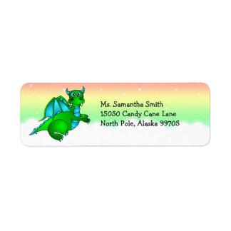Cute Green Dragon Return Address Label